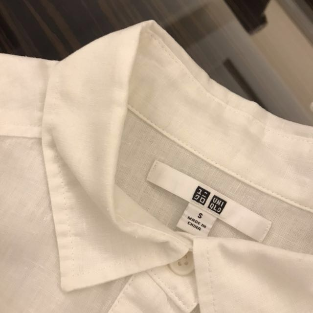 UNIQLO 純白棉麻襯衫裙