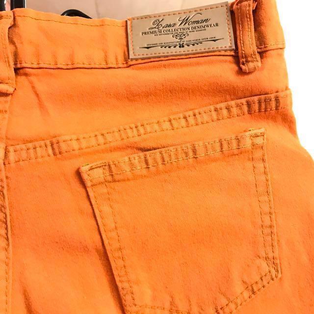 Zara Orange stretch jeans