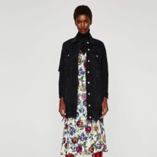Zara Trf Long Denim Jacket
