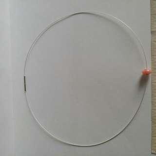 澳洲蛋白石8mm 算盤珠吊咀 鑲嵌純銀圈. 連日本刺刀式0.5 mm頸圈