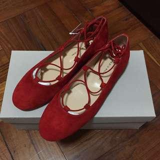 全新 Fabio Rusconi 紅色 麂皮 Flats size 36