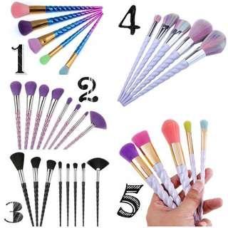 Unicorn makeup brush set