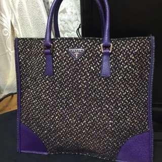 PRADA紫色皮+毛絨手提包