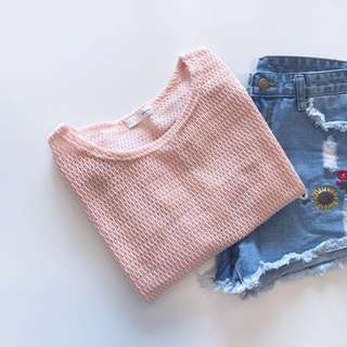 🚚 StarMIMI鏤空粗針織透視上衣