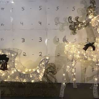 5.5ft LED Lighted Standing Deer with 44 in. Wide LED Lighted Acrylic Sleigh