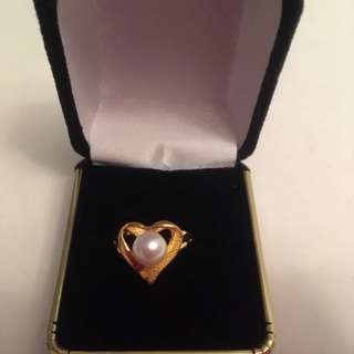 24K Gold Ring With South Sea Pearl