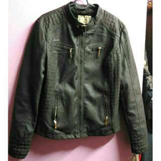 Plus Size Faux Leather Jacket