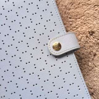kikki k perforated ice blue binder and divider