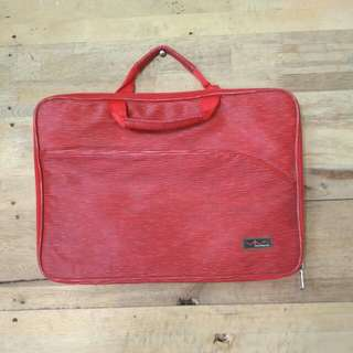 Tas Laptop Kulit merah waterproof