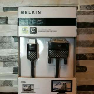 BELKIN HDMI TO DVI CABLE (19PINS) 12ft RUSH!!