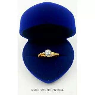 Cincin  Batu Zircon Emas916