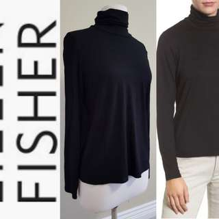 EILEEN FISHER Black Scrunch Turtleneck Sweater, EUC, US Small