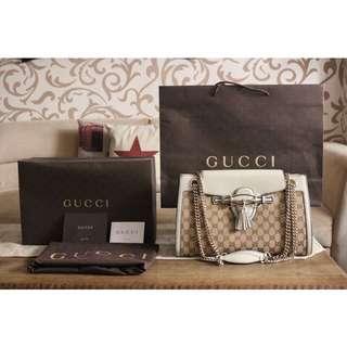 Gucci Shoulder Bag Gucci Emily/tassels/horsebit GG canvas chain beige