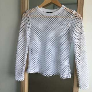 White fishnet long sleeve