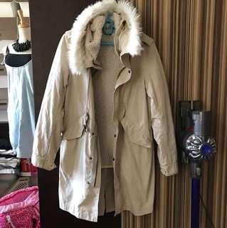 tout a coup Coat 冬天女裝毛毛卡其色外套
