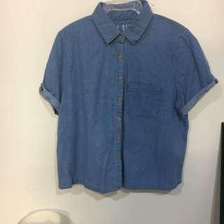 Crop Denim Shirt From Cotton On