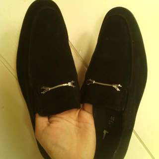 Repriced! Black Formal Velvet Loafer Slip-on Shoes For Men