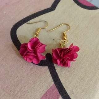 anting pink bunga flower rose