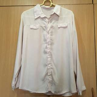 Light Pink Long Sleeve Buttoned Polo