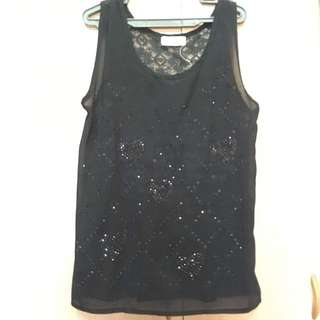 Sleeveless Blouse with Glitter details