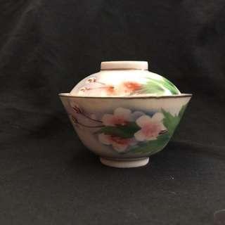 民國刷花梨花紋蓋碗茶盅杯