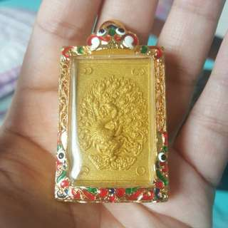 peacock amulet include gold micron casing