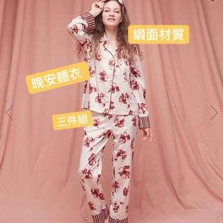 Peach John 居家緞面睡衣 三件組 粉紅銀杏