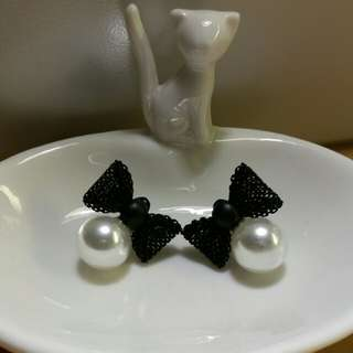 Bow Faux Pearl Earrings