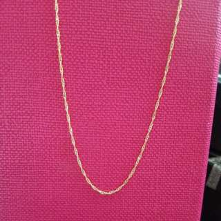 "18K750 Yellow Gold Necklace 18K750 黃金意大利頸鍊16""Long                        100% Genuine and ItalyGold"