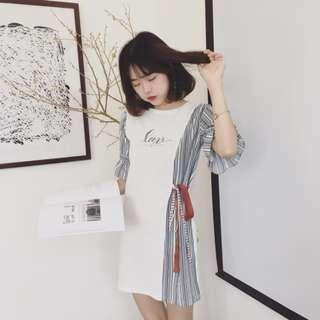 White dress 喇叭袖连衣裙