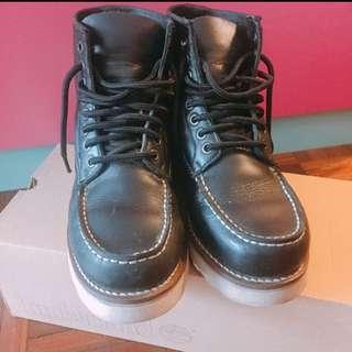 黑色真皮厚底鞋