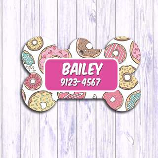 Rainbow Donut . Fruits , Pet tag , Pet ID , Dog , Cat , Handmade Customized , Personalized, Name , Clothing , Accessories , Pet Collars , Kids , Children , Key chain , keychain