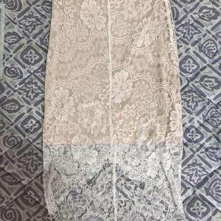 BNWOT White Lace Pencil Skirt