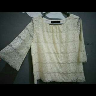Brocade broken white blouse
