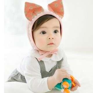 🚚 BH5078 小兔護耳帽 嬰兒帽 可愛棉帽 睡覺帽子 花邊帽