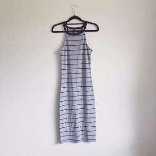 Black and Grey-White Casual Striped Bodycon Dress