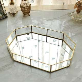 Gold Glass Mirror Tray