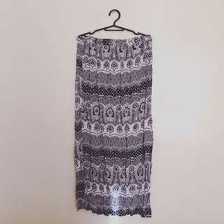 ATMOSPHERE High Waisted Maxi Skirt (gartered + belted)