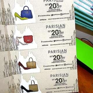 SM PARISIAN 20% OFF VOUCHERS (4 vouchers)
