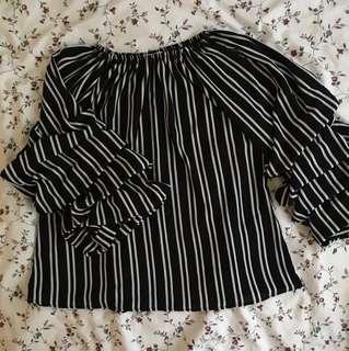Ruffle Sleeve Stripe Blouse