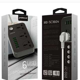 Mobius SC3604 6USB Charging HUB with 3 Power Socket