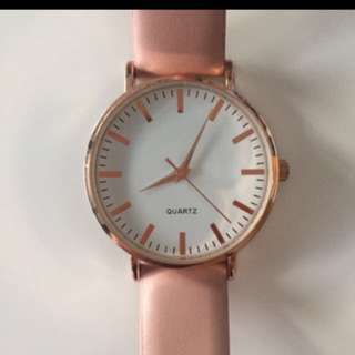 Rose Gold Leather Strap Watch
