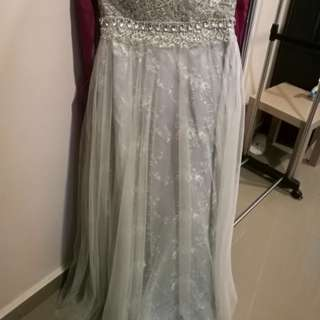 Grey Silver Sequin Lace Wedding Dress