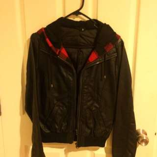 Leather jacket with checked detail - JAYJAYS