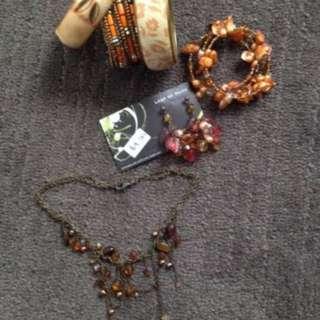 Old Shop Stock - 11 pieces - necklaces, earrings, bracelets