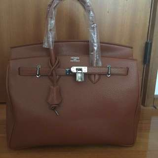 Brown Hermes bag