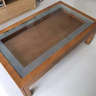 Indonesian Coffee table, solid wood and glass