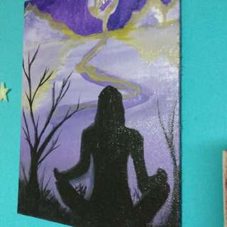 [Painting] Purple Cheese Moon and Meditating Girl