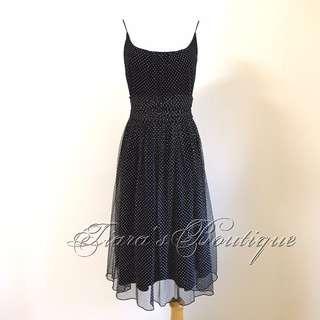 ANNA SUI 黑色網紗 白色點點 浪漫星空 洋裝 (134)