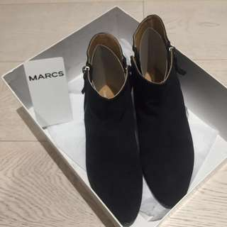 Marcs Black Leather Ankle Boots